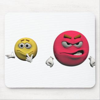 Tapis De Souris Émoticône fâchée jaune et rouge ou smiley