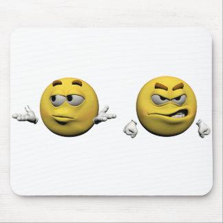Tapis De Souris Émoticône fâchée jaune ou smiley