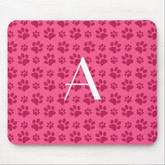 Tapis De Souris Empreintes de pattes roses de chien de monogramme
