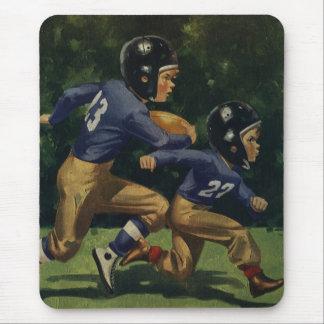 Tapis De Souris Enfants vintages, garçons jouant au football,