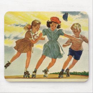 Tapis De Souris Enfants vintages, patinage de rouleau d'amusement