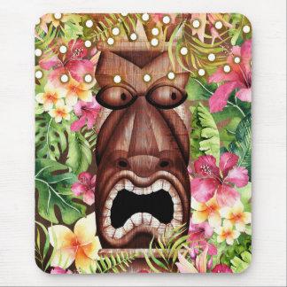 Tapis De Souris Été hawaïen en bois d'île de Tiki Luau floral