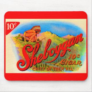 Tapis De Souris étiquette de cigare de Sheboygan des années 1920