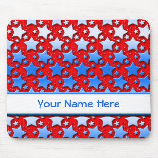 Tapis De Souris Étoiles bleues de blanc sur le rouge