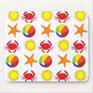 Tapis De Souris Étoiles de mer de soleil de ballon de plage de