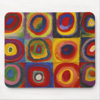 Tapis De Souris Étude de couleur des cercles de carrés par