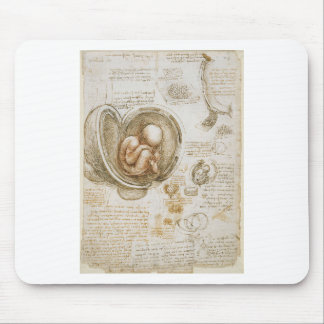 Tapis De Souris Études de Leonardo da Vinci du foetus dans
