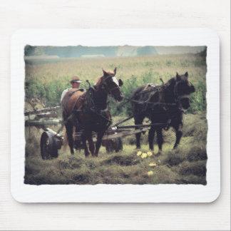 Tapis De Souris Fabrication du foin avec des chevaux