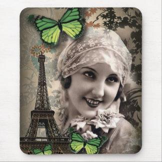 Tapis De Souris fashionista parisien de fille gatsby vintage d'art