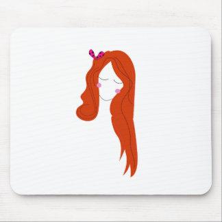 Tapis De Souris Femme de conception avec de longs cheveux sur le