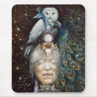 Tapis De Souris femme de natif américain avec le hibou et le paon