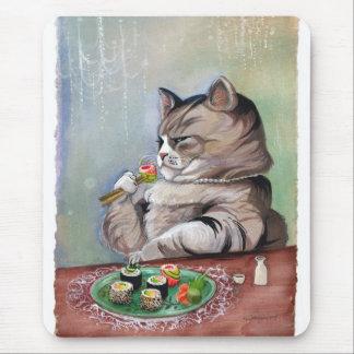 Tapis De Souris Festin de fantaisie de chat de sushi