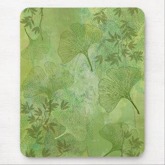 Tapis De Souris Feuille de Ginkgo et de bambou - couleurs vertes