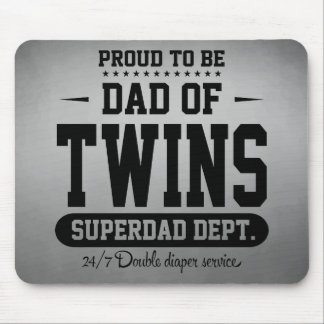 Tapis De Souris Fier d'être papa de service de Superdad de jumeaux