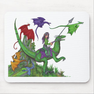 Tapis De Souris Fille avec des dragons et des dinosaures