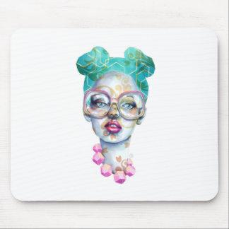 Tapis De Souris Fille avec l'art pour aquarelle génial en verre