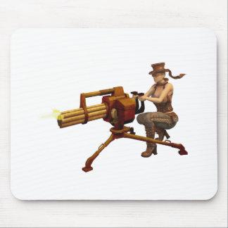Tapis De Souris Fille de Steampunk avec l'arme à feu