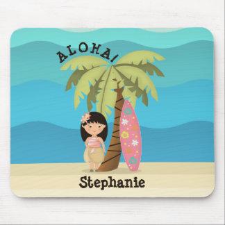 Tapis De Souris Fille hawaïenne de surfer