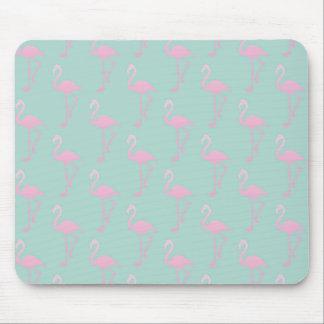 Tapis De Souris Flamant rose sur le motif sans couture turquoise