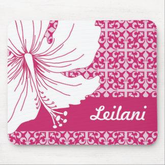 Tapis De Souris Fleur hawaïenne de rose et blanche de ketmie de