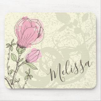 Tapis De Souris Fleur rose personnalisée | Mousepad de magnolia