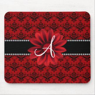 Tapis De Souris Fleur rouge de marguerite de damassé de monogramme
