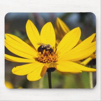Tapis De Souris Fleur sauvage jaune avec l'abeille d'extraction