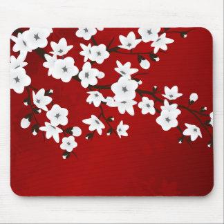 Tapis De Souris Fleurs de cerisier noires et blanches rouges