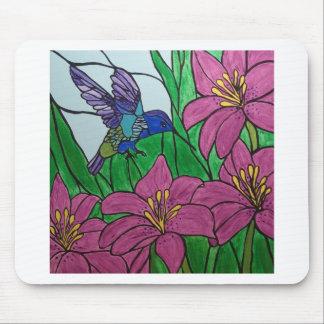 Tapis De Souris Fleurs d'oiseau de ronflement