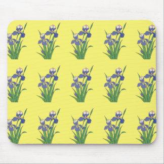 Tapis De Souris Fleurs florales et pourpres vintages d'iris de