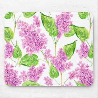 Tapis De Souris Fleurs roses de lilas d'aquarelle
