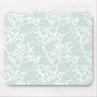 Tapis De Souris Floral élégant blanc vert en pastel élégant