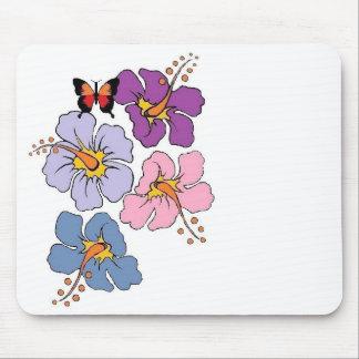 Tapis de souris floral et de papillon