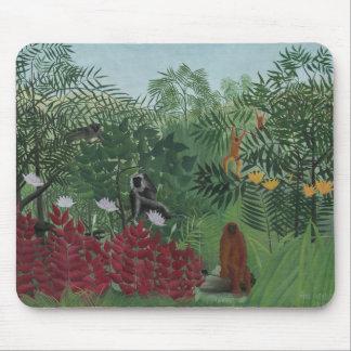 Tapis De Souris Forêt tropicale de Rousseau avec des singes