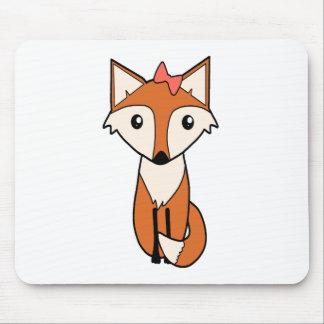 Tapis De Souris Fox mignon portant un arc de cheveux