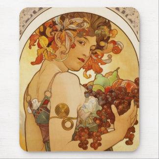 Tapis De Souris Fruit vintage d'Alfons Mucha d'art de Mousepad