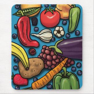 Tapis De Souris Fruits et légumes colorés sur le bleu