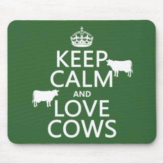 Tapis De Souris Gardez le calme et aimez les vaches (toutes les