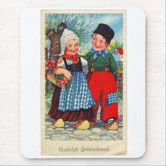 Tapis De Souris Gefeliciteerd néerlandais vintage de hartelijk