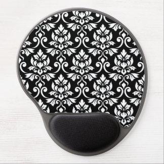 Tapis De Souris Gel Blanc de motif de damassé de Feuille sur le noir