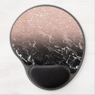 Tapis De Souris Gel Bloc rose à la mode de couleur de marbre de noir