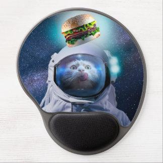 Tapis De Souris Gel Chat d'astronaute regardant l'hamburger