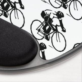 Tapis De Souris Gel Coureurs de vélo dans le motif blanc de bicyclette