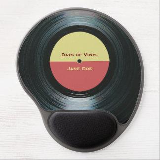 Tapis De Souris Gel Étiquette noir de disque de musique de vinyle