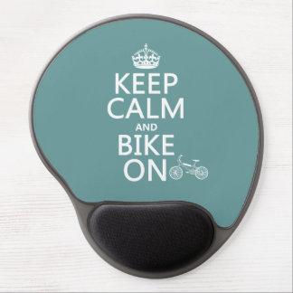 Tapis De Souris Gel Gardez le calme et faites du vélo sur (toute