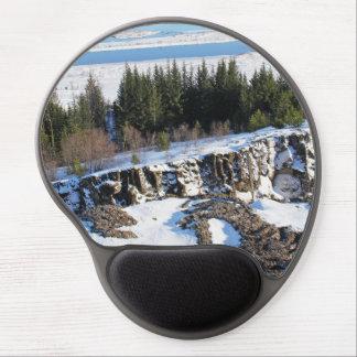 Tapis De Souris Gel Glace congelée sur les montagnes rocheuses avec