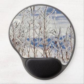 Tapis De Souris Gel Glacez congelé sur des plantes avec de la glace
