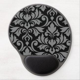 Tapis De Souris Gel Gris de l'art I de damassé de Flourish sur le noir