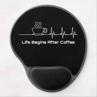 Tapis De Souris Gel La vie commence après battement de coeur de café