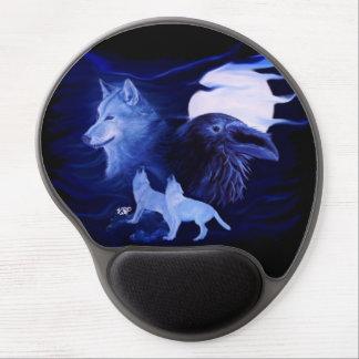 Tapis De Souris Gel Loup et Raven avec la pleine lune